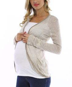 Gold & Beige Sheer Back Maternity Cardigan by PinkBlush Maternity on #zulily