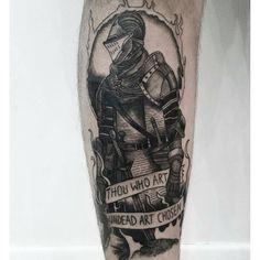 70 Dark Souls Tattoo Designs For Men - Video Game Ideas Mens Manly Dark Souls Tattoo Designs Alice The Angel, Seele Tattoo, Dreieckiges Tattoos, Gamer Tattoos, Deviantart, Arte Dark Souls, Video Game Tattoos, Knight Tattoo, Arm Art
