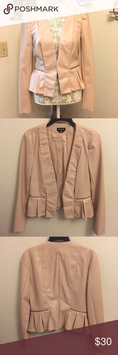 Faux leather peplum jacket This GORGEOUS Bebe jacket has never been worn.  No tags. Size Medium pale pink faux leather with peplum. Satin lining.   Smoke free home. bebe Jackets & Coats