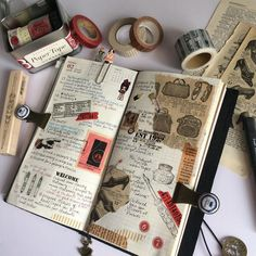 """""""Week 7 Feb #travelnotebook #travelersnotebooks #midoritravelersnotebook #diary #planner #plannerlove #journal #artjournal #collage #papercollage…"""""""