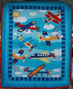 Aeroplane Baby Quilt 114cm x 100cm