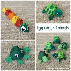 Egg Carton Animal Craft! Make Turtles, Caterpillars, and Frogs