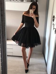 Black Homecoming Dress, Homecoming Dress A-Line Homecoming Dresses 2018 A-Line Sweetheart Black Short Homecoming Dress with Short Sleeves Simple Homecoming Dresses, Hoco Dresses, Simple Dresses, Cheap Dresses, Pretty Dresses, Prom Dress, Wedding Dresses, Discount Dresses, Bridesmaid Dresses