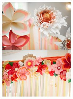 paper flowers and streamer-adorned alter #food