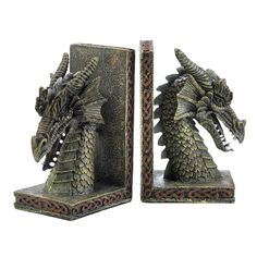 Bookend Set, Decorative Bookends, Rustic Bookends, Fierce Dragon Bookends