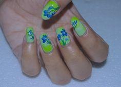 One Stroke Nail Art Design ~ Blue Flowers Nail Art
