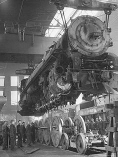 size: Photographic Print: New Locomotives Being Built in Main Shop by Bernard Hoffman : Artists Underground Bunker, Abandoned Train, Old Trains, Vintage Trains, Train Art, Train Pictures, Train Engines, Model Train Layouts, Steam Engine
