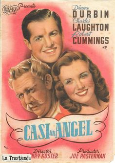Charles Laughton, Deanna Durbin, and Robert Cummings in It Started with Eve Robert Cummings, Deanna Durbin, Vintage Ads, Guys, Movies, Brunettes, Posters, Old Books, Brochures