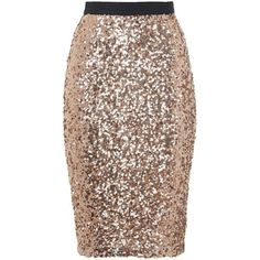 French Connection Lunar Sparkle Sequin Pencil Skirt, Pale Gold ($115) ❤ liked on Polyvore featuring skirts, brown skirt, brown pencil skirt, french connection, sparkly pencil skirt and wet look skirt