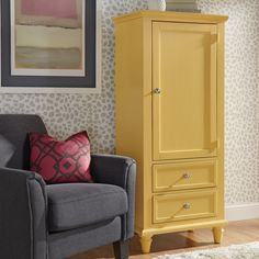 Darby Home Co Isabella Armoire Color: Yellow Contemporary Armoires And Wardrobes, Home Renovation, Home Remodeling, Bedroom Furniture, Home Furniture, Wardrobe Bed, Tv Armoire, Tile Covers, Blue Tiles