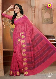 Magnificient tomato red color saree crafted on cotton material is surely to add charm to your persona. The saree is crafted with machine embroidery adding the necessary glam to it. This saree is accompained with matching blouse piece. For Just Rs.1290