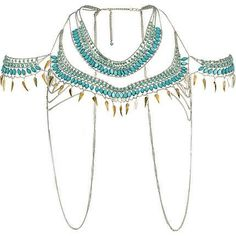 turquoise bead and shell cape necklace