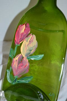 Hand Painted Tulips Green Glass Wine Bottle by oldcargirl on Etsy, $23.00