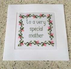 "Handmade completed Cross stitch Mothers Day Special Mother card pink 5.75"" in Crafts, Cross Stitch, Completed Cross Stitch 