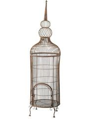 Antique Rust Birdcage With Stand