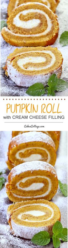 Nothing speaks fall more than a pumpkin roll. The moist pumpkin-spiced cake is filled with soft, sweet cream cheese. Perfect for Thanksgiving, which is not to far and never too early to start planning for.