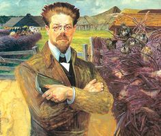 """Portrait of Wladyslaw Reymont by Jacek Malczewski (Polish 1854 – 1929)......Reymont was a Polish novelist and the 1924 laureate of the Nobel Prize in Literature. His best-known work is the award-winning four-volume novel """"Chłopi""""...,,"""