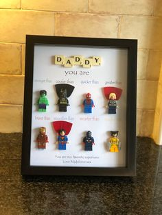 Super Sized Superhero Marvel Figure Personalised Frame Great for Dad Son Nephew Uncle etcGreat Christmas Birthday Fathers Day Diy Gifts For Dad, Diy Father's Day Gifts, Father's Day Diy, Dad Gifts, Valentine Gift For Wife, Valentines Presents, Fathers Day Presents, Lego Frame, Diy And Crafts