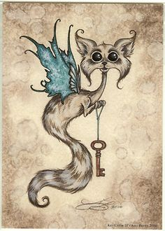 klacindacrystal:  Amy Brown Print 5x7 Key Critter III Cat Ferret Wings | eBay on We Heart It - http://weheartit.com/entry/37219563/via/klaci...
