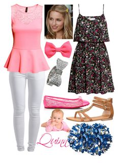 """""""Quinn Fabray : Glee : Dianna Agron"""" by haileymadisonnn ❤ liked on Polyvore featuring Pieces, H&M, Jimmy Choo, maurices and King Baby Studio"""