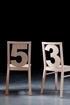 I like these wooden numbered chairs! #design #furniture
