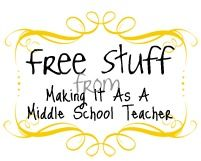 Middle school freebies for math, science, social studies, classroom management, and holidays from Making It As A Middle School Teacher.