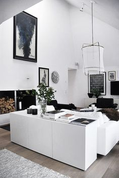 11 Open-Plan Living Spaces That Will Make You Want to Move BESTÅ Storage combination with doors IKEA modern interior white nice clean soft black wood The post 11 Open-Plan Living Spaces That Will Make You Want to Move appeared first on Raumteiler ideen. House Design, Home And Living, Room Design, Interior Design, House Interior, Home Living Room, Interior Architecture, Home, White Interior
