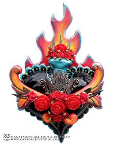 Black Flaming Sacred Heart With Sharp Blades by catboxartstudio