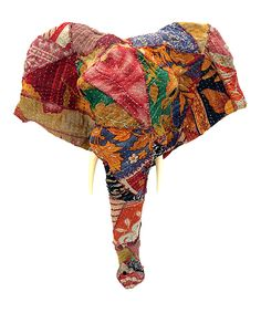 KingMax Product Sari Fabric-Wrapped Long-Nose Elephant Bust Wall Mount | zulily