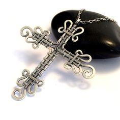 Sterling Silver Cross Necklace  Wire Weave Cross by KianDesigns