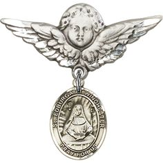 Sterling Silver Baby Badge with St. Edburga of Winchester Charm and Angel w/Wings Badge Pin 1 1/8 X 1 1/8 inches -- You can find out more details at the link of the image. (This is an Amazon Affiliate link and I receive a commission for the sales)