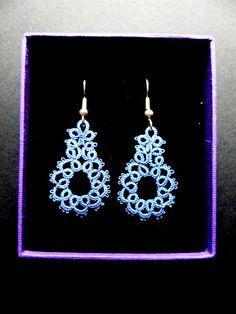 Very Fine Needle Tatted Handmade Lace Earrings Cornflower Blue
