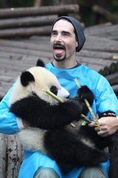 The Backstreet Boys Posing With Giant Panda Cubs