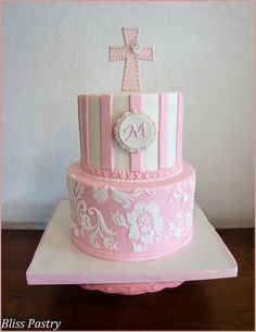 Pink and White Baptism Cake