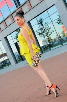 Asymmetric yellow peplum dress by TamaraChloéStyleClues