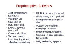 Proprioception Activities. Something to think about?