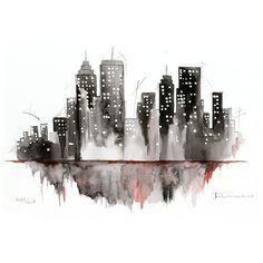 Black and wite NY City painting, New York watercolor ink original... found on Polyvore