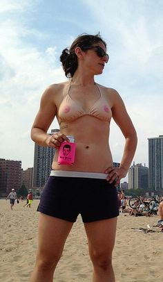 The Ta-Ta top!  Designed for women who are tired of having to cover up their nipples in public (at the beach, at the pool, etc) when men are allowed to walk around shirt free. It's good for a few laughs and works well to protest an antiquated law