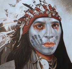 Heart of a Nation, 30 x 30, oil on linen  This Plains Indian is wearing an eagle feather headdress. The shafts of the feathers are wrapped in red Trade Cloth. Bells, ribbon and cloth also adorn the band of the headdress.  His face is painted white with a black hand or coup mark.  http://khendersonart2.blogspot.com
