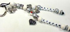 Schlüsselanhänger mit Namen Love Valentine von Schnullerkette by baby name for u auf DaWanda.com