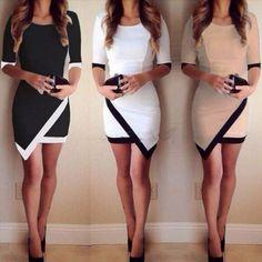 Asymmetric Hem Patchwork Bodycon Dress – Daisy Dress For Less
