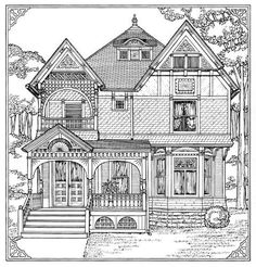 victorian homes Coloring Pages for Adults   how to draw : victorian houses