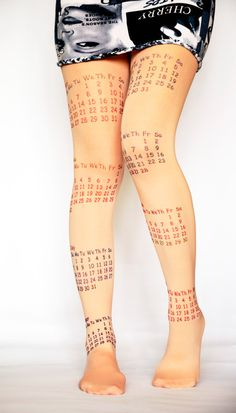 Cream Pantyhose Tights Colorful Print Calendar  by colinedesign, $29.90