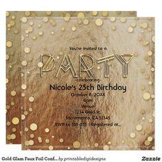 Gold Glam Faux Foil Confetti Party Invitations