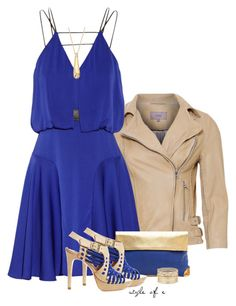 """""""Blue and Gold Night Out"""" by styleofe ❤ liked on Polyvore featuring Milly, Golden Lane, Pour La Victoire and Nine West"""