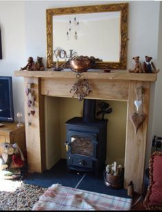 Most current No Cost Fireplace Hearth rustic Style Great Images wooden Fireplace Hearth Suggestions Wood burner fireplace Wooden Fireplace Surround, Oak Fire Surround, Wood Burner Fireplace, Wooden Fire Surrounds, Fireplace Hearth, Fireplace Surrounds, Craftsman Fireplace, Fireplace Ideas, Fireplace Candles