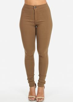 High Waisted Khaki Skinny Jean #CaliCaliente | Denim | Pinterest ...