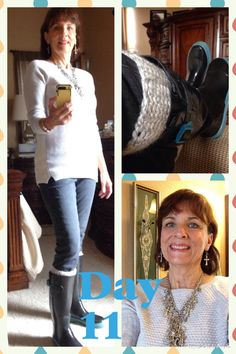 12/18/2014 Gray denim jeans from Loft online, gray and beige, pullover sweater from Loft, boot cuffs from Etsy, Marc Jacobs rain boots, cross necklace from boutique.