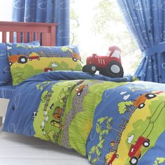 A colourful farm themed bedding set Reversible 2 in 1 design Includes 1 x duvet cover and 2 x pillowcase Duvet cover size: x Pillowcase size: x cotton, polyester Machine washable Bed Sets, Duvet Sets, Duvet Cover Sets, Farm Bedroom, Kids Bedroom, Kids Rooms, Tractor Bedroom, Basement Bedrooms, Master Bedroom