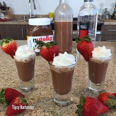 Creamy Nutella Vodka - You won't need an excuse to road test this delicious Creamy Nutella Vodka Cocktail. It doesn't get easier or more delicious. Check out the Video link below too. 3/4 Cup Nutella 1/2 Cup Sugar 1 1/4 Cup Heavy Whipping Cream 2 Cups Vodka Whipped Cream Garnish with a strawberry Creamy Nut